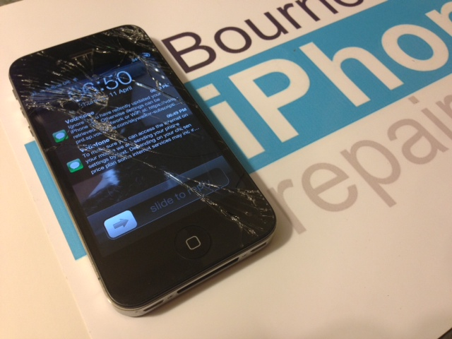 iPhone 4S with a broken touchscreen glass