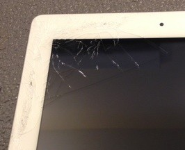 Close up of smashed screen on an iPad 3 Wifi A1307