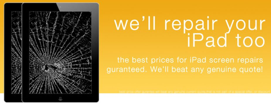 We offer ipad repairs too. Repairs for iPad 1, iPad 2 and iPad 3.