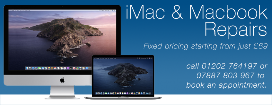 Mac Repair Specialist - Repairs, Services & Upgrades Mac Repair Bournemouth, Poole & Christchurch Mac repair Bournemouth: MacBook Pro • MacBook Air • MacBook • Mac Pro • iMac • Mac Mini • Time Machine / Capsule